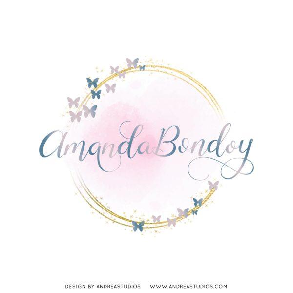 Premade Logo - Blush Gold Butterflies