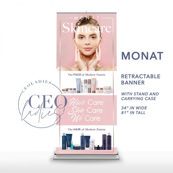Monat Retractable Banner Skin Care Hair Care We Care